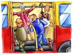 Человек в страсти влетает в автобус